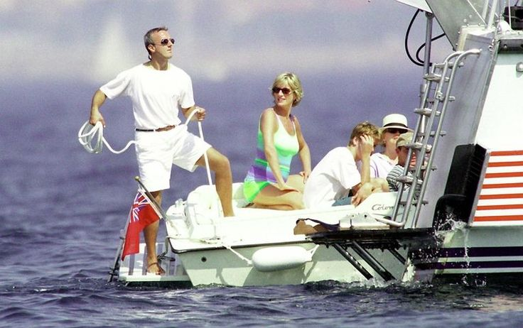Diana, Princess of Wales and son HRH Prince William are seen holidaying with Dodi Al Fayed (not pictured) in St Tropez in the summer of 1997, shortly before Diana and Dodi were killed in a car crash in Paris on August 31, 1997.