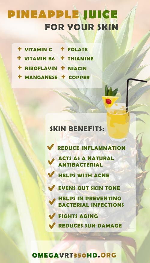 Pineapple juice for your skin. What vitamins and elements can you benefit from when drinking pineapple juice? http://ifocushealth.com/pineapple-juice-benefits/
