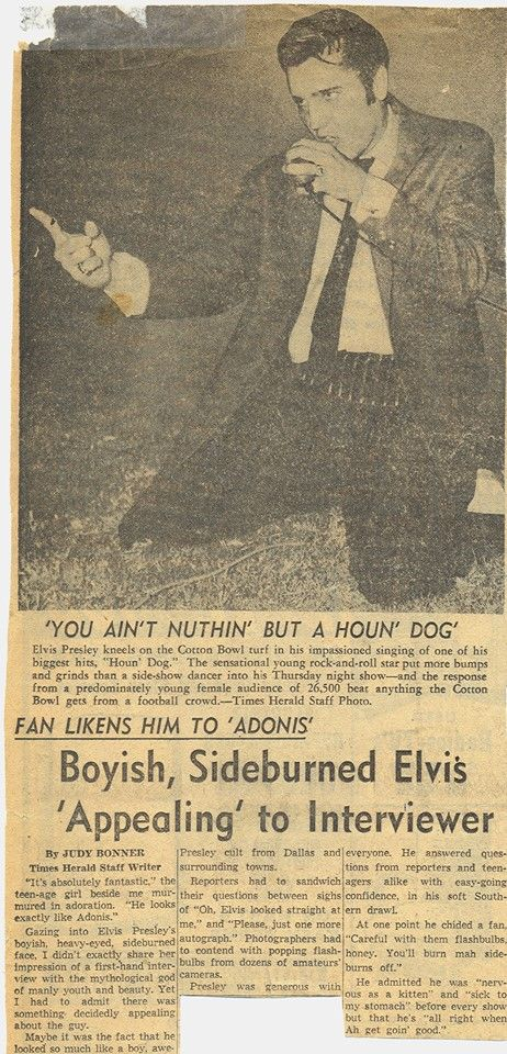 """1956 Elvis at the Cotton Bowl - Dallas Texas 