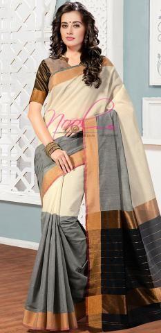 Coimbatore Cotton Saris Cream Plain Vidhya Balan Design BZ5056D77130