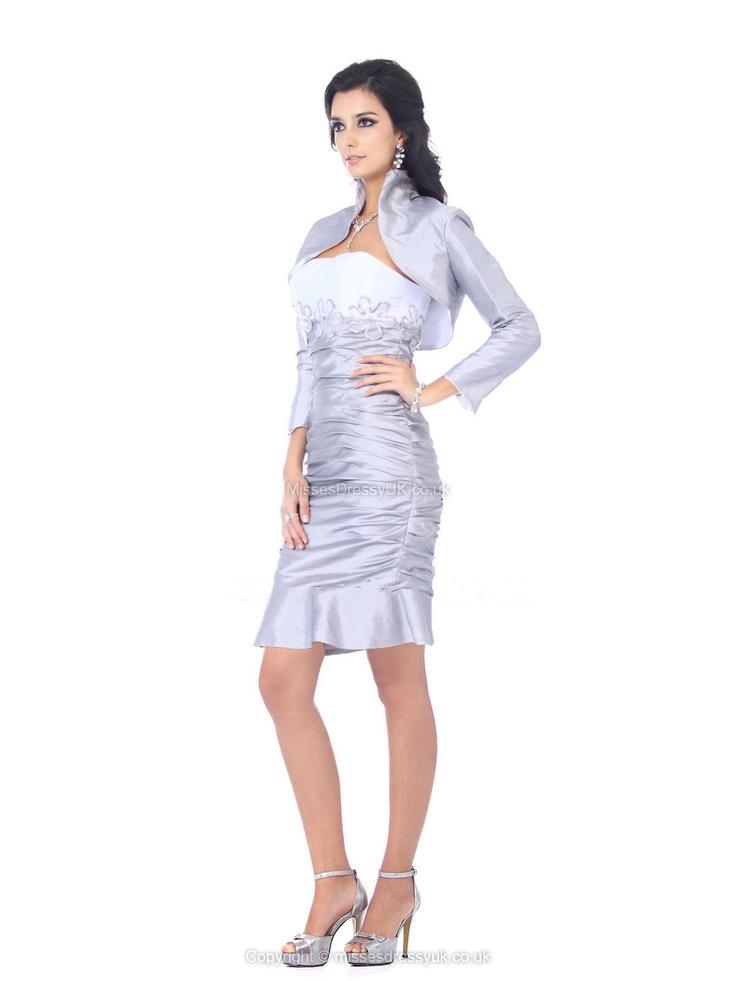 Sheath/Column Strapless Taffeta Knee-length Silver Embroidery Party Dress