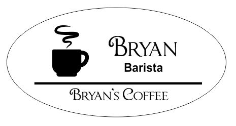 Searching for the perfect coffee shop name tag?  This oval, 3 line name badge is precisely what you've been looking for.  Showcasing a steaming coffee cup logo, this badge adds a professional look to your establishment.