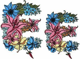 Exotic Flowers Font - Letter E