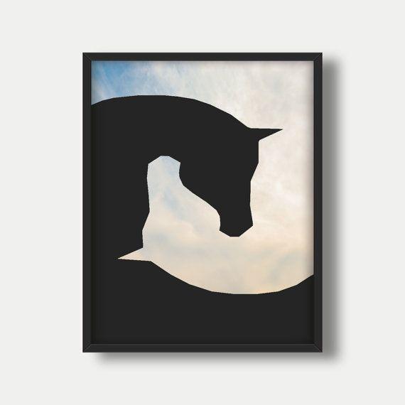 Zwarte paard Print zwart paard muur van kunst, moderne Poster, affiche van het zwarte paard, paard Wall Decor van het paard, paard afdrukken Poster, Modern Decor van het paard