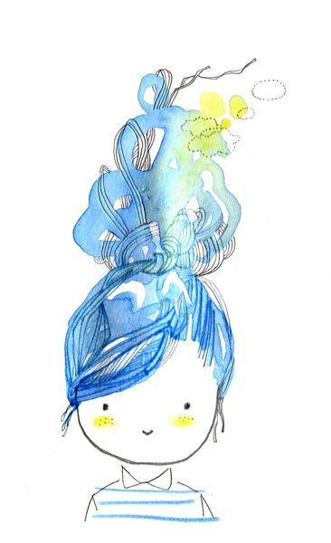 otra niña azul