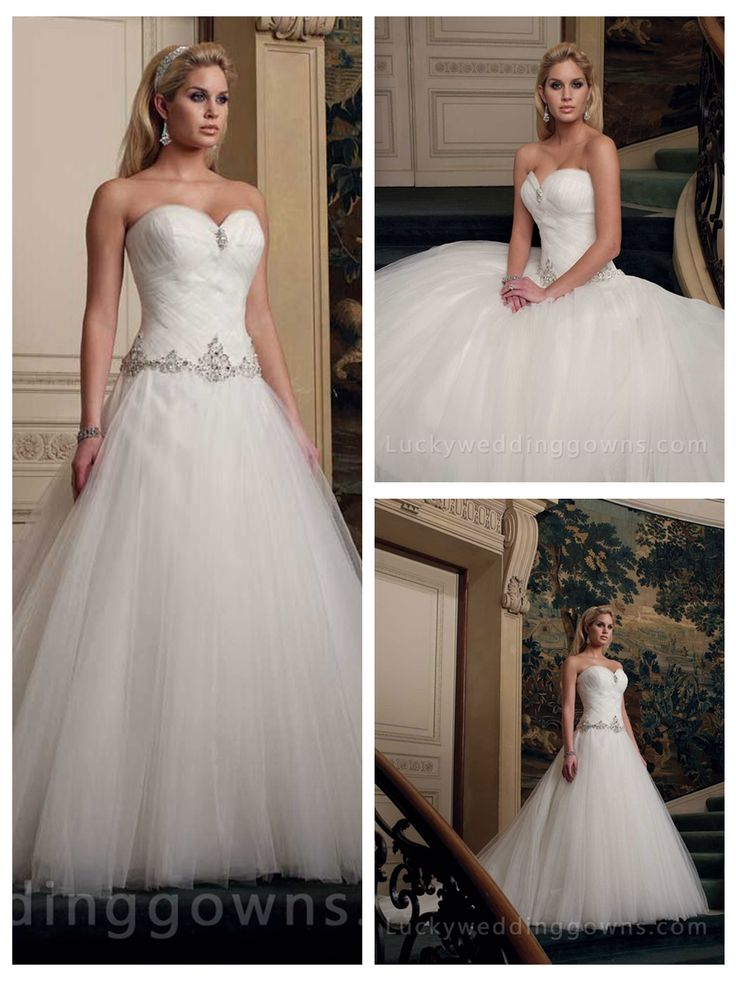 Tulle Ball Gown Sweetheart Wedding Dress with Woven Bodice