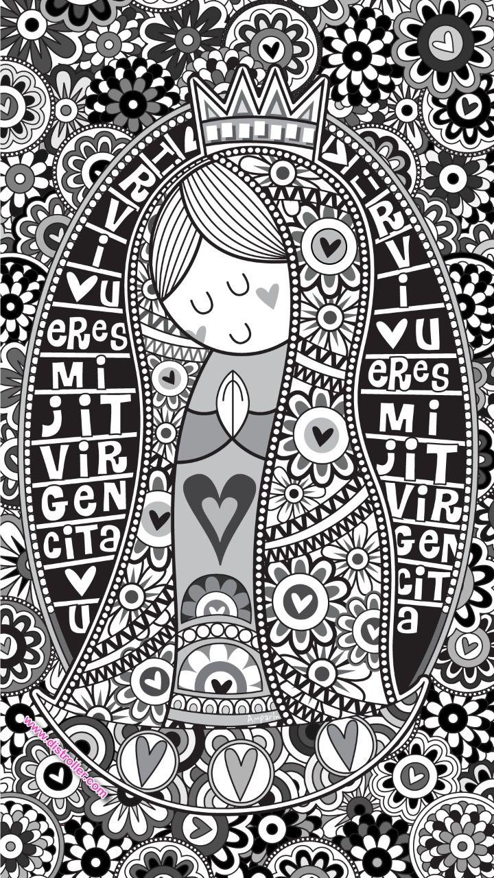 wallpaper virgencita blanco y negro