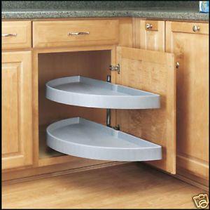 Kitchen Cabinet Organizer, White Lazy Susan set for Kitchen blind corner cabinet
