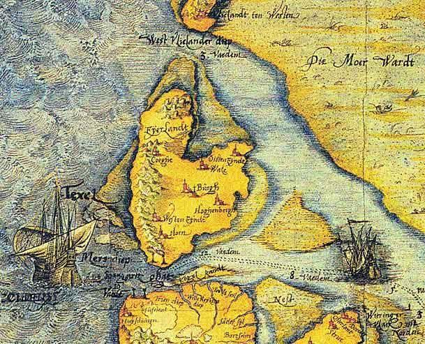 Texel en omgeving in 1573, detail uit de kaart van Christiaan Sgroten