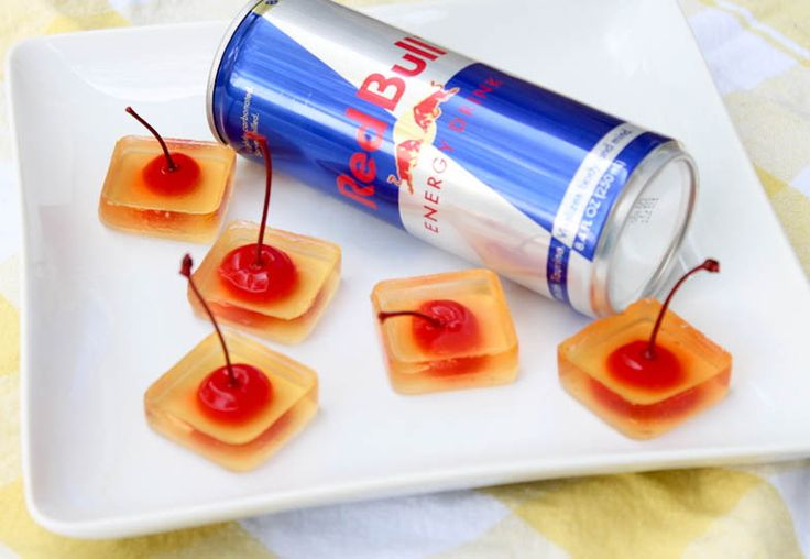 Redbull and Vodka Jello Shots - fun, cute, and easy to pick up with the little cherry stems
