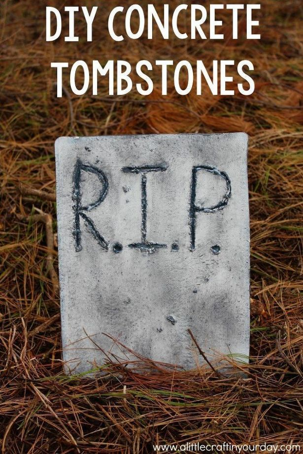DIY Concrete Tombstones - Pour cement into a baking sheet for this