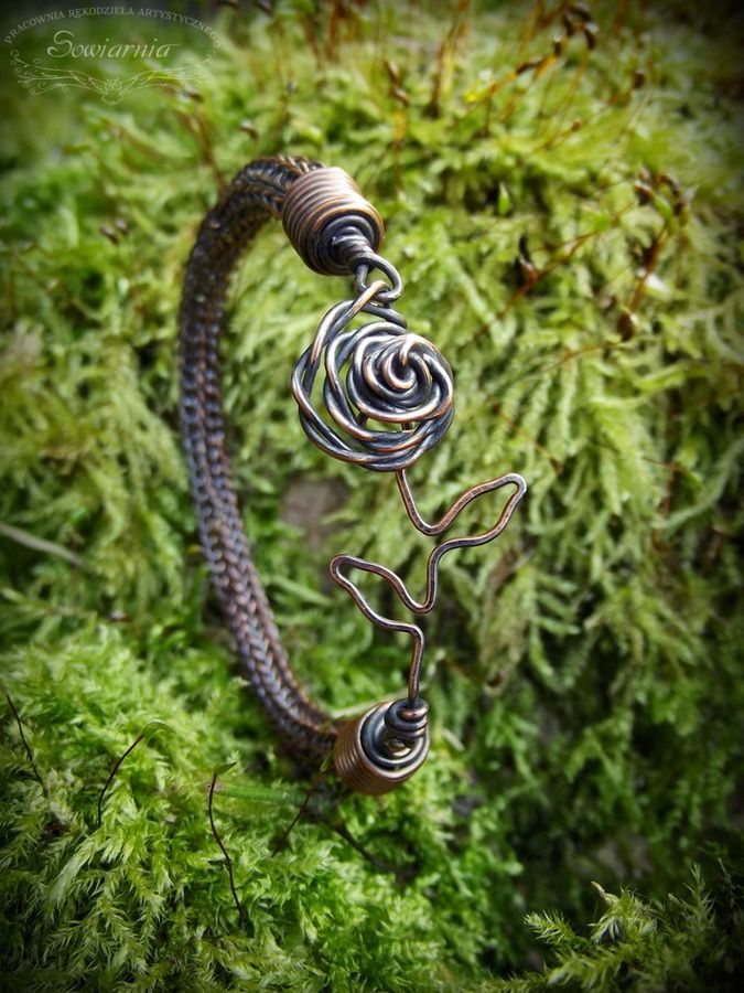 Copper viking knit bracelet with a rose