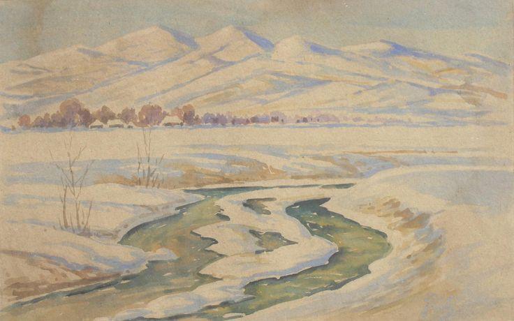 Julian FAŁAT ,Zimowy pejzaż z Bystrej, 1918 , akwarela, tektura, 27 x 41,5 cm