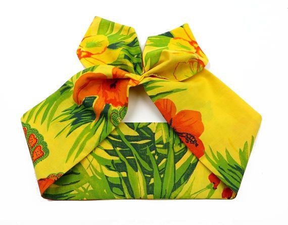 Fascia per capelli tropicale bandana gialla stile tropicale