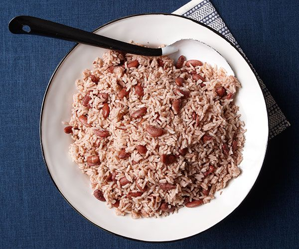 This is really a rice and beans dish, but in Jamaica, beans are called peas. It's traditionally served alongside