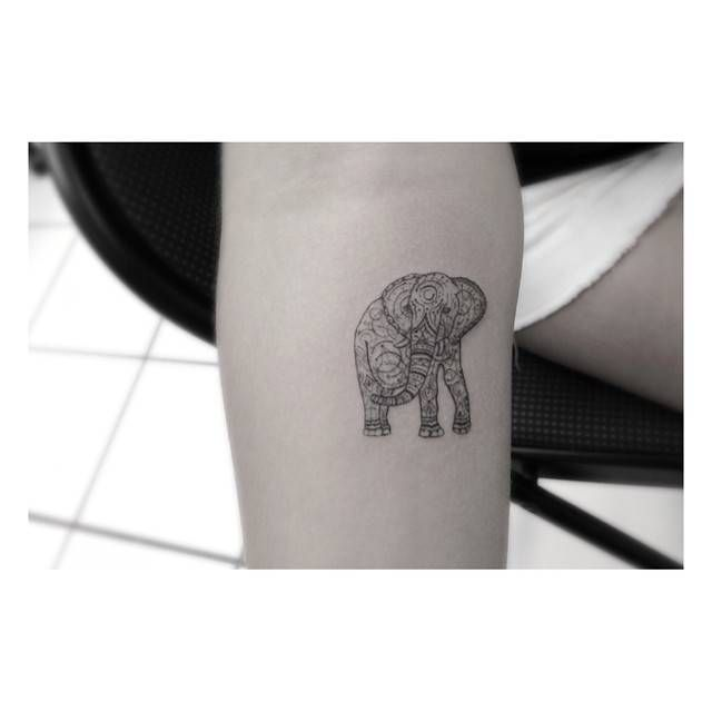 Fine line/ornamental style elephant tattoo on the forearm, by Dr. Woo. Tattoo artist: Dr. Woo