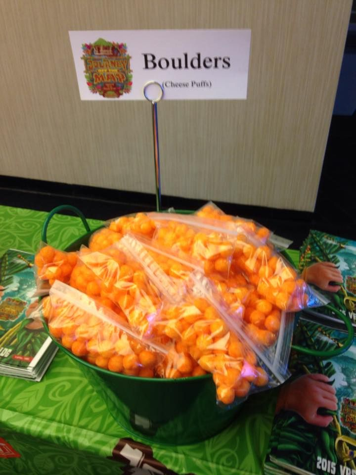 Boulder snacks (cheese puffs) for Journey Off the Map VBS.