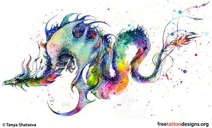 Feminine dragon tattoo design