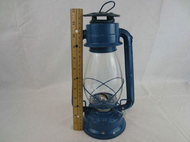 "Vtg Blue, EAGLE HURRICANE OIL LAMP WINGED WHEEL No 500, Railroad Lamp, 12"" Japan"