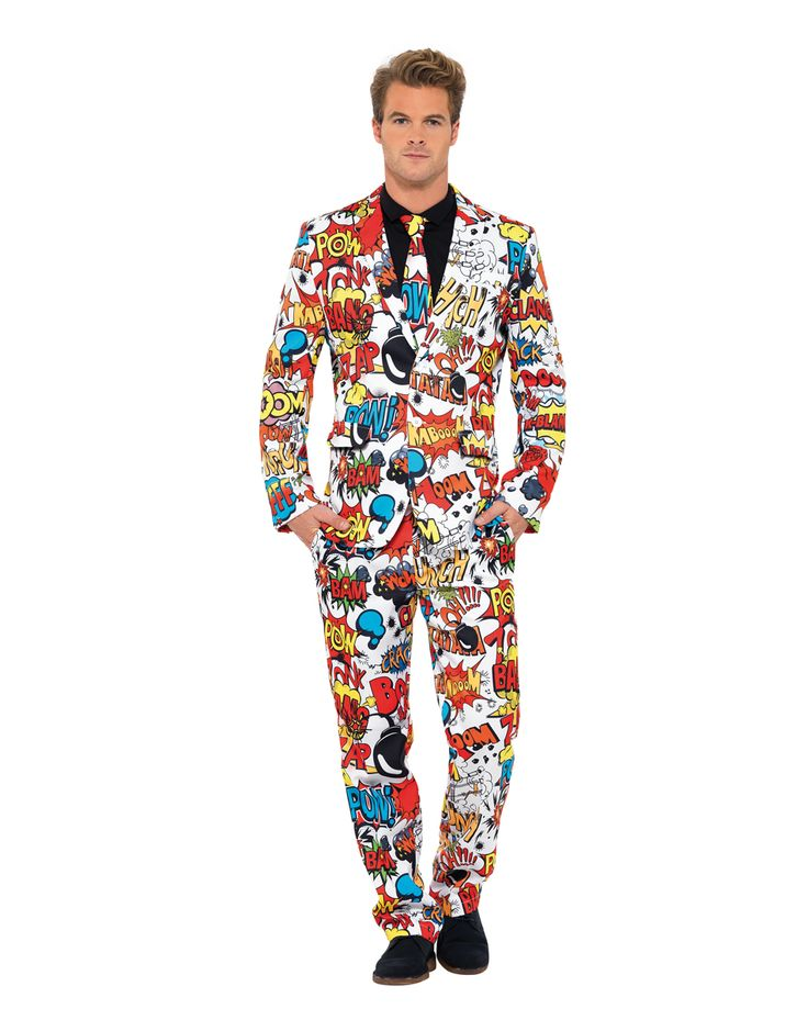 Comic Book Party Suit At Spirit Halloween Bamm Whack Pow Illustrate Your Personality With