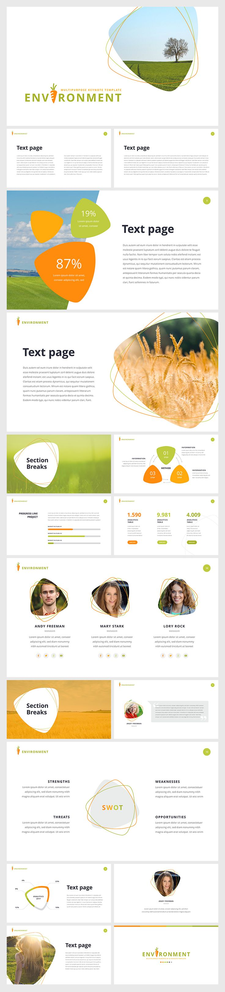 "PowerPoint Template "" Environment"" Download: https://hislide.io/product/environment-ppt/ #eco #nature #slide #ppt #pptx #presentation #design"