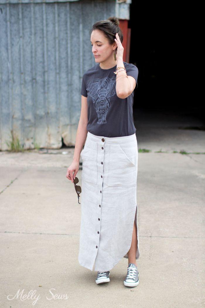 8b85a02d0 DIY Linen Maxi Skirt - Button Front Maxi Skirt Tutorial - Make a maxi skirt  with a side slit - Melly Sews