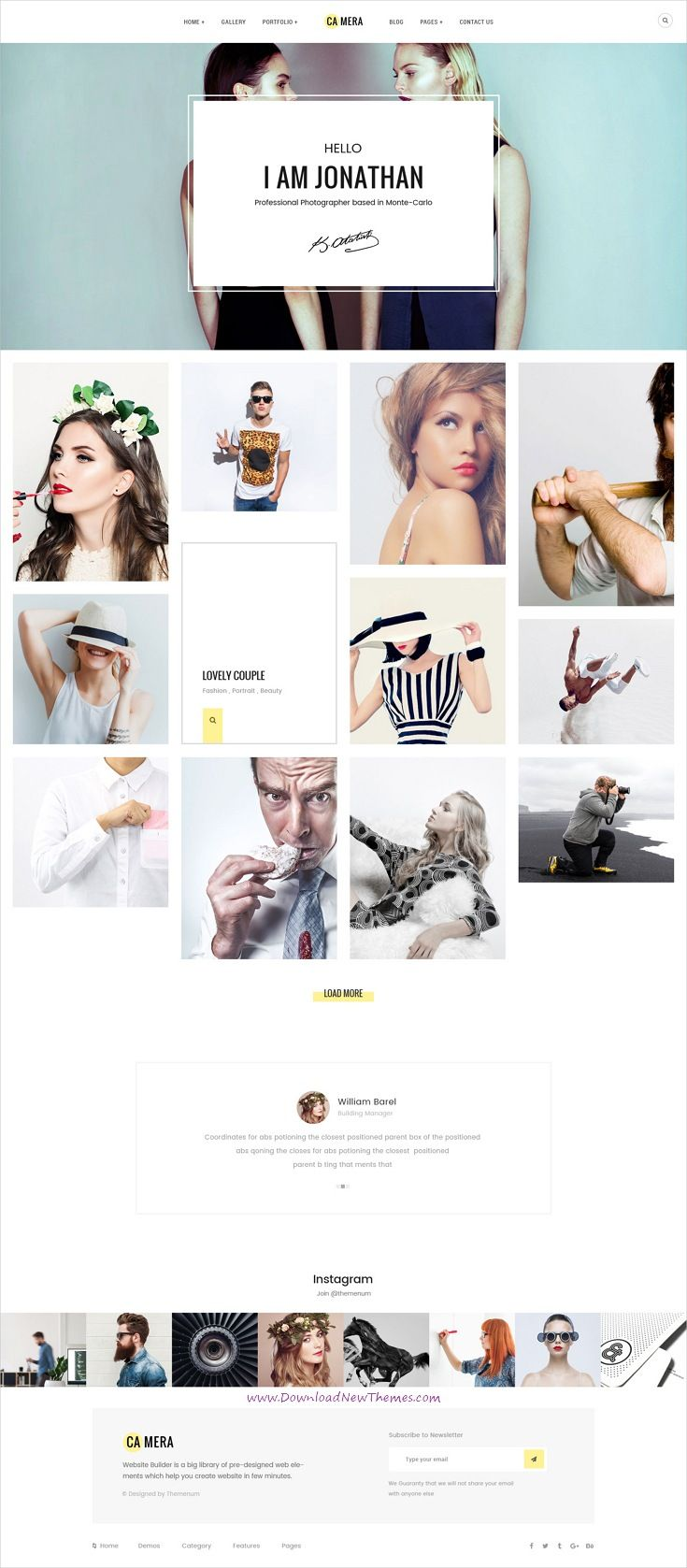 Camera is clean and modern pixel-perfect design #PSD template for #photographers and #portfolio showcase website with 34 layered PSD pages in light and dark versions to live preview & download click on Visit 👆