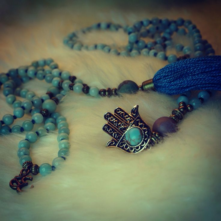 Malabead necklace, blue amazonite and Hamsa hand