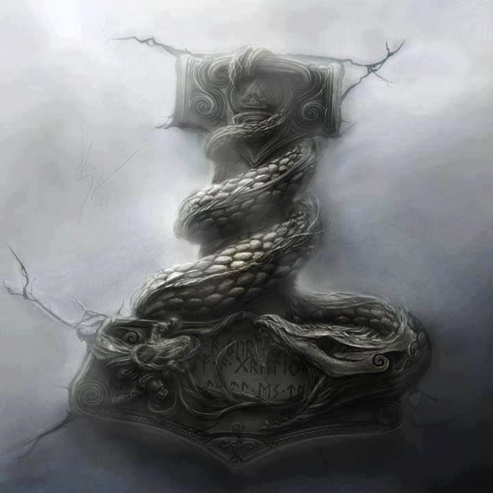 Mjolnir with thor in battle with jormungandr the world - God of war jormungandr ...