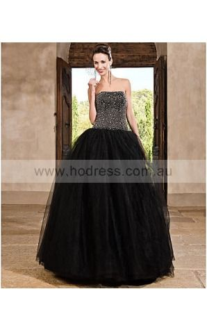 Tulle Strapless Natural Ball Gown Floor-length Bridesmaid Dresses 0190602--Hodress