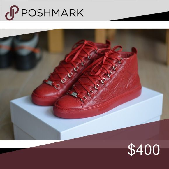 Red Balenciaga Areans Size 44 (11) In good mint condition. All red AUTHENTIC Balenciaga sneakers. Box and dust bag included! Balenciaga Shoes Sneakers