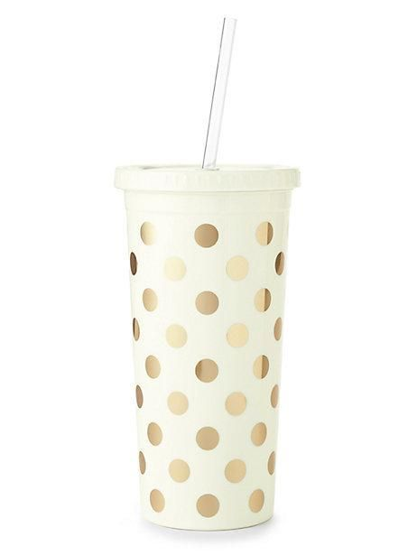gold dots insulated tumbler - kate spade new york