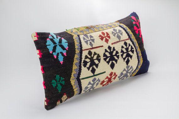 Vintage, wool hand woven Kilim pillow - Bohemian Cushion 12'' x 23.5'' (30 cm x 60 cm)