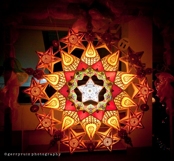 """Parols are ornamental star-like Christmas lanterns from the Philippines. They are traditionally made out of bamboo and paper and come in various sizes, shapes and designs; however, their star-shape façade and basic design remain dominant.  The shape is said to be inspired by the star on the Nativity of Jesus that guided the Magi to the manger. It also symbolizes the victory of light over darkness and the Filipinos' hope and goodwill during the Christmas season"""