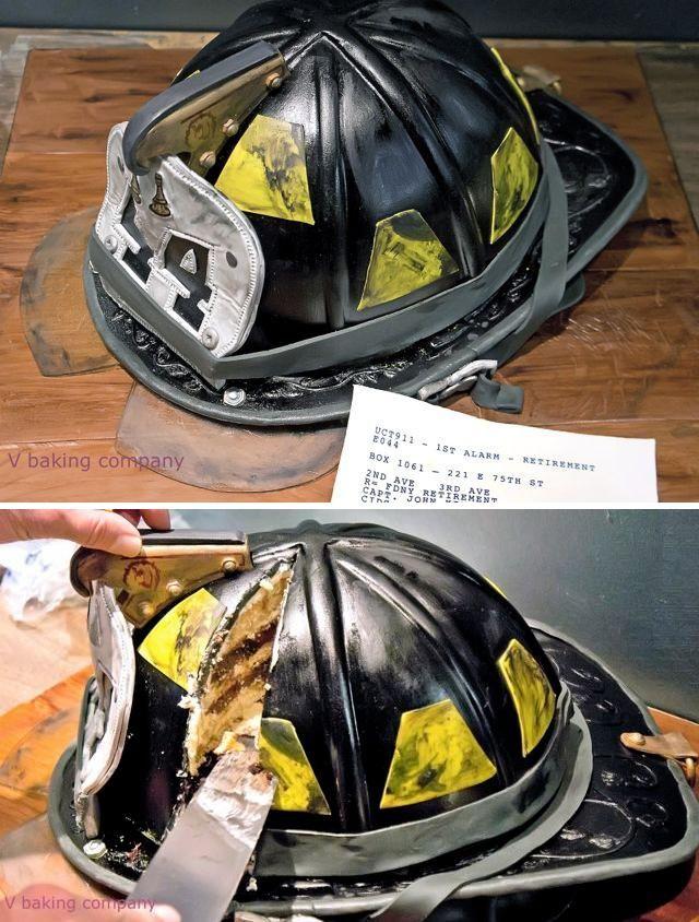 Firefighter Helmet Retirement Cake | Shared by LION