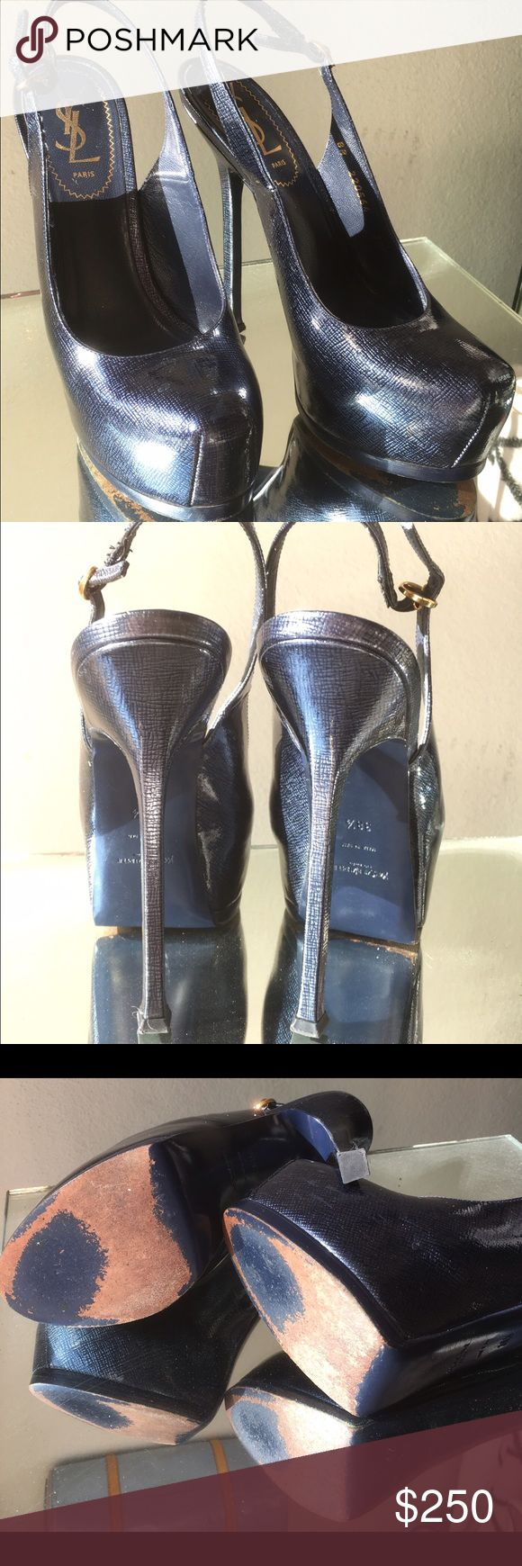 YsL tribute navy high heel shoes 38 Authentic tribute patent leather YSL shoes. Size 38. In good condition. Sole wear. Yves Saint Laurent Shoes Heels