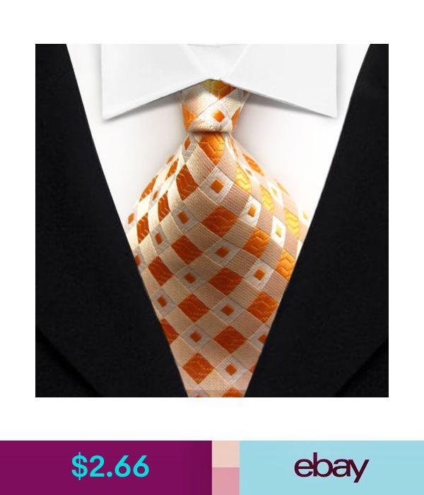TK028 Orange Lattices New Classic WOVEN Silk JACQUARD Necktie Men/'s Tie