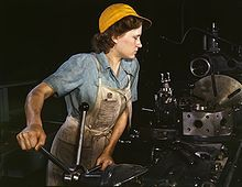 A turret lathe operator machining parts for transport planes at the Consolidated Aircraft Corporation plant, Fort Worth, Texas, USA in the 1940s.