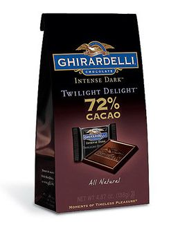 Ghirardelli dark chocolate - rich in antiioxidants. Moderation is key - one or two squares a day!