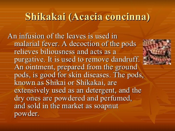 Shikakai (Acacia concinna) <ul><li>An infusion of the leaves is used in malarial fever. A decoction of the pods relieves b...