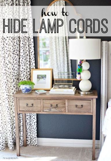 Hi Sugarplum | How To Hide Lamp Cords, DIY idea for home.  I have some lamps in my living room and bedroom that I need to do this to!