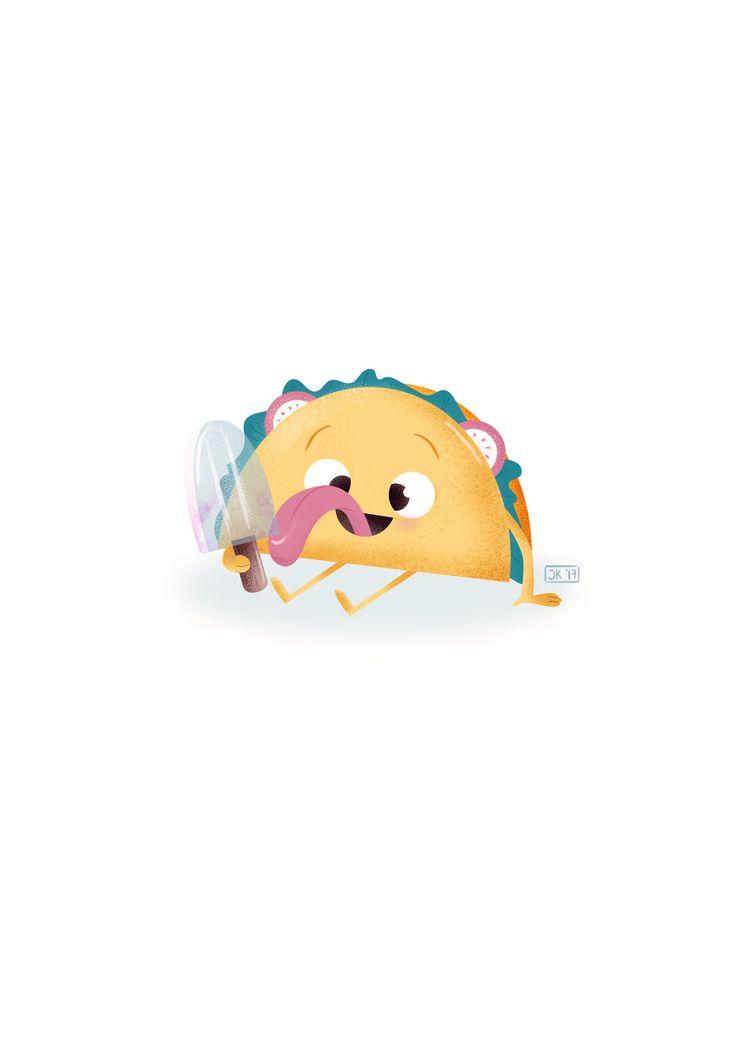 A happy taco :) . #illustration #doodle #illuinstagram #doodleoftheday #art #digitalart #digitalpainting #psd #photoshopart #artinprocess #doodling #instaart #sketchoftheday #goals #goals2018 #practice #project #drawsomething #character #characterdesign #taco #ice #summervibes #summer