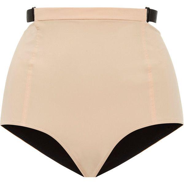 Jean Yu Multi Strap High Rise Bikini Bottom ($275) ❤ liked on Polyvore featuring swimwear, bikinis, bikini bottoms, neutral, high waisted bikini, uv protection swimwear, high-waisted swimwear, jean yu and highwaisted bikini bottoms