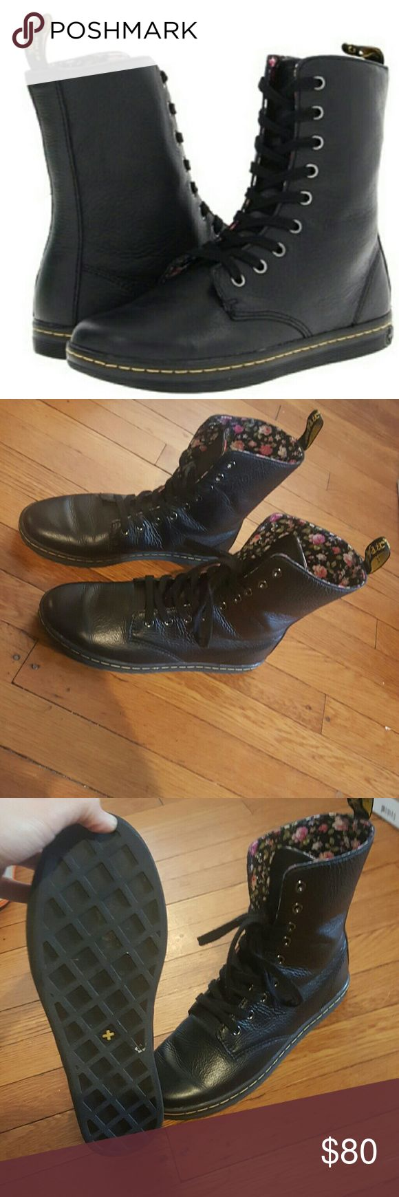 DR.MARTEN DOCS STRATFORD WOMENS 9 DR.MARTEN WOMENS 9 BLACK LEATHER BOOTS COMBAT BOOTS STYLE Only worn a few times Dr. Martens Shoes Combat & Moto Boots
