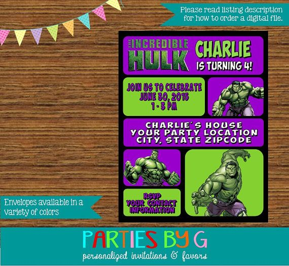 149 best images about Kids Hulk Party – Hulk Party Invitations