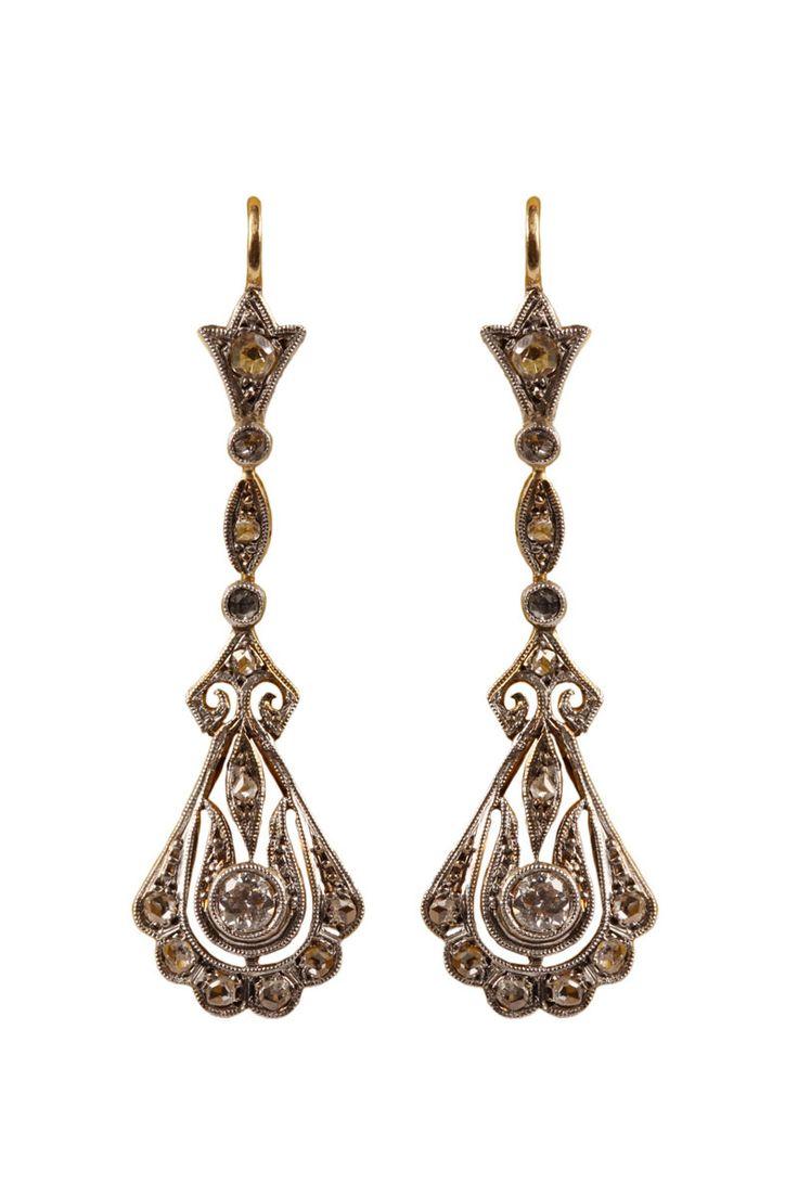 Pendientes vintage de platino y oro con diamantes de Barcena.