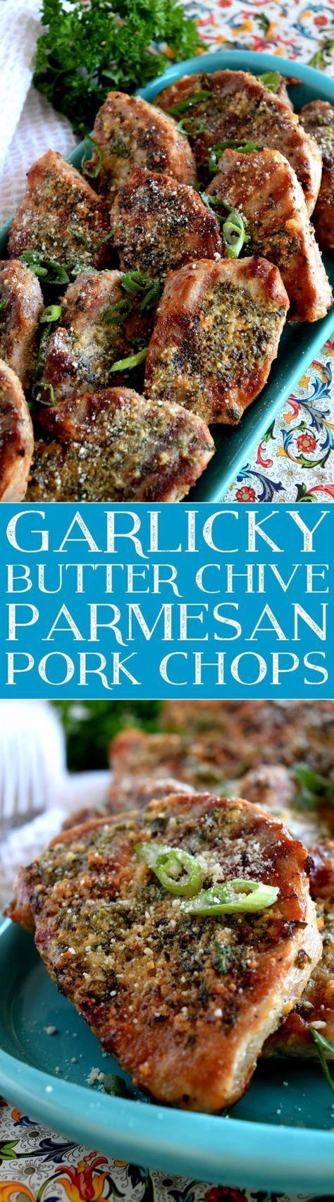 Garlicky Butter Chive Parmesan Pork Chops - Lord Byron's Kitchen