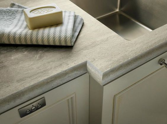 The best looking plastic laminate countertop I've ever seen - Formica's Travertine Silver with Ogee IdealEdge™: