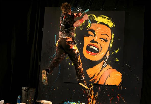 """Illusion: Performance art by Brian Olsen. """"Using fingertips, palms, elbows and up to three brushes in each hand, Brian paints portraits of famous people including musicians, sports figures, and top corporate heads on a four and a half by six foot canvas in just a matter of minutes. His creations are choreographed to music that is.... http://illusion.scene360.com/art/11606/performance-speed-painting-with-six-brushes/"""