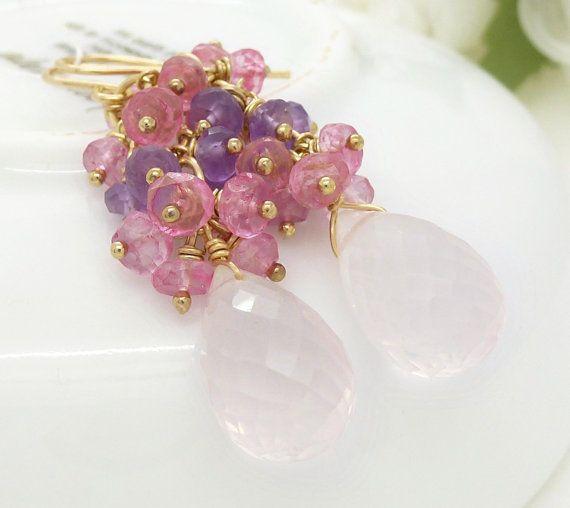 Gold purple and pink rose quartz earrings by CreativityJewellery, $95.00